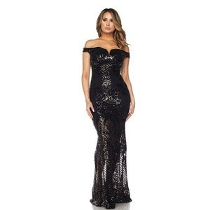 Dresses - Off shoulder sequin beaded gown dress